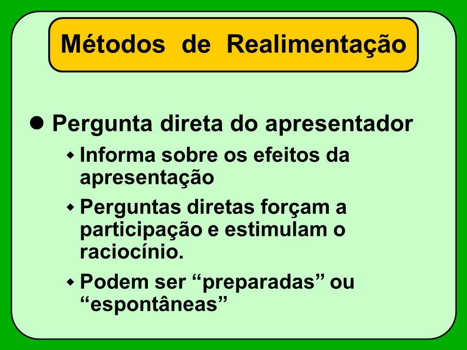 Métodos de Realimentação Pergunta direta do apresentador Informa sobre os efeitos da apresentação Perguntas diretas forçam a participação e estimulam