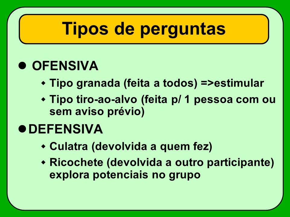 Tipos de perguntas OFENSIVA Tipo granada (feita a todos) =>estimular Tipo tiro-ao-alvo (feita p/ 1 pessoa com ou sem aviso prévio) DEFENSIVA Culatra (