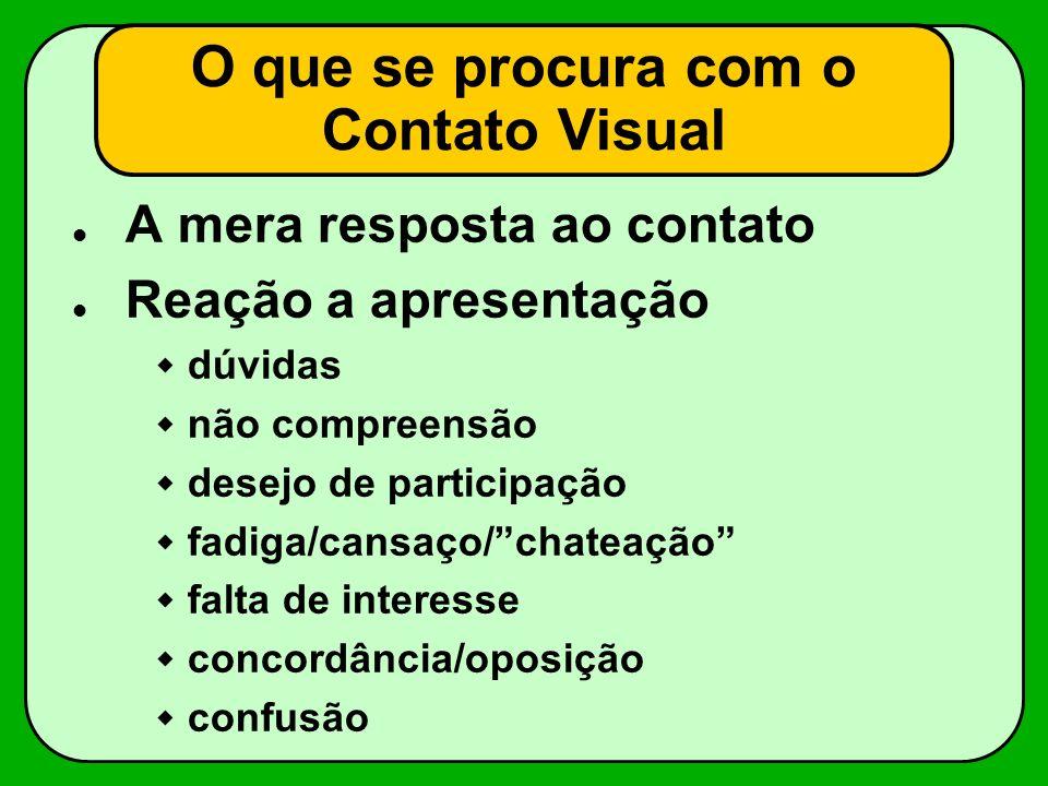 O que se procura com o Contato Visual A mera resposta ao contato Reação a apresentação dúvidas não compreensão desejo de participação fadiga/cansaço/c