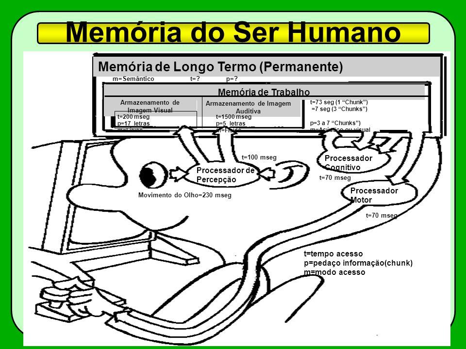 Memória do Ser Humano Memória de Longo Termo (Permanente) Armazenamento de Imagem Visual Armazenamento de Imagem Auditiva Memória de Trabalho Processa