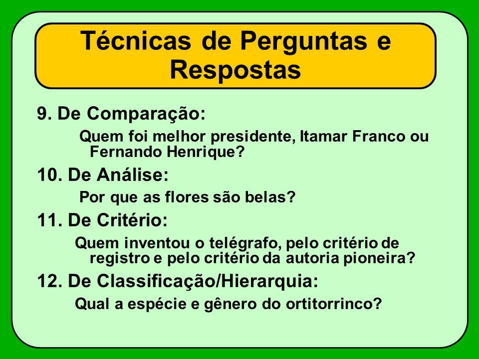9. De Comparação: Quem foi melhor presidente, Itamar Franco ou Fernando Henrique? 10. De Análise: Por que as flores são belas? 11. De Critério: Quem i
