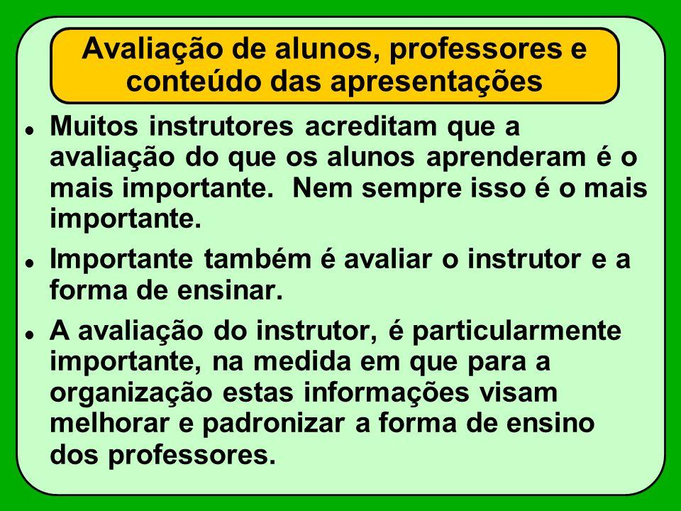 Avaliação de alunos, professores e conteúdo das apresentações Muitos instrutores acreditam que a avaliação do que os alunos aprenderam é o mais import