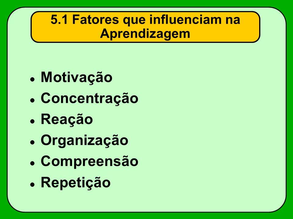 5.1 Fatores que influenciam na Aprendizagem Motivação Concentração Reação Organização Compreensão Repetição
