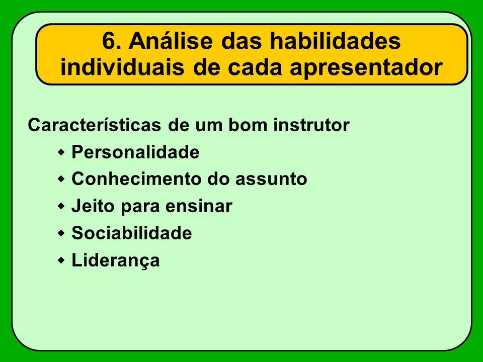 Características de um bom instrutor Personalidade Conhecimento do assunto Jeito para ensinar Sociabilidade Liderança 6. Análise das habilidades indivi