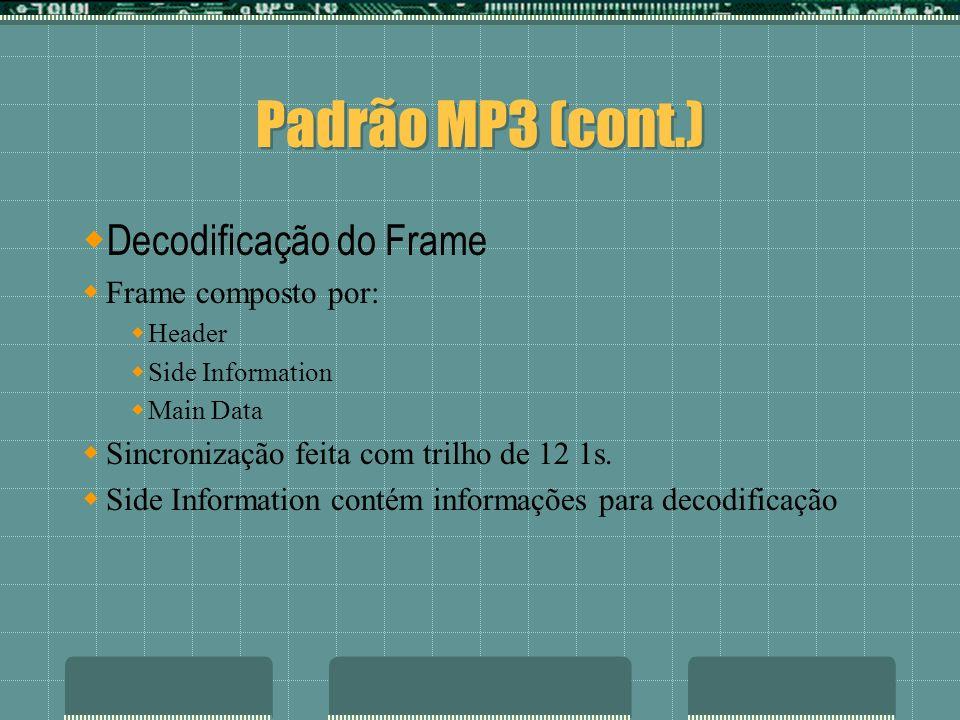 Padrão MP3 (cont.) Decodificação do Frame Frame composto por: Header Side Information Main Data Sincronização feita com trilho de 12 1s. Side Informat