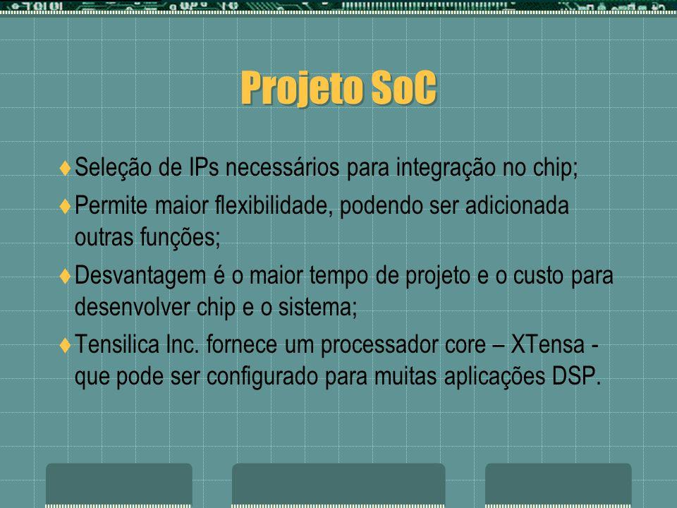 Projeto SoC Seleção de IPs necessários para integração no chip; Permite maior flexibilidade, podendo ser adicionada outras funções; Desvantagem é o ma
