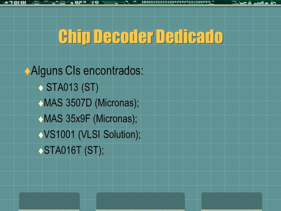 Chip Decoder Dedicado Alguns CIs encontrados: STA013 (ST) MAS 3507D (Micronas); MAS 35x9F (Micronas); VS1001 (VLSI Solution); STA016T (ST);