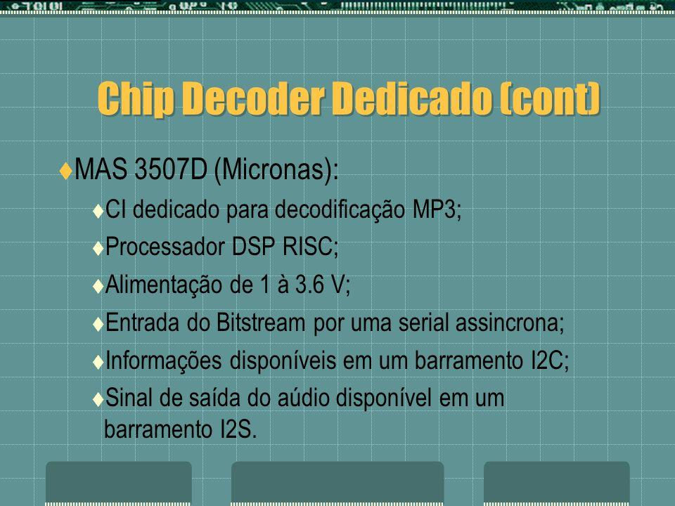 Chip Decoder Dedicado (cont) MAS 3507D (Micronas): CI dedicado para decodificação MP3; Processador DSP RISC; Alimentação de 1 à 3.6 V; Entrada do Bits