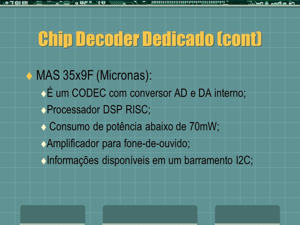 MAS 35x9F (Micronas): É um CODEC com conversor AD e DA interno; Processador DSP RISC; Consumo de potência abaixo de 70mW; Amplificador para fone-de-ou