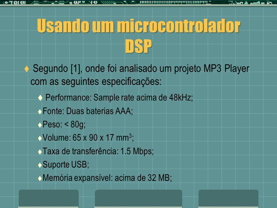 Usando um microcontrolador DSP Segundo [1], onde foi analisado um projeto MP3 Player com as seguintes especificações: Performance: Sample rate acima d