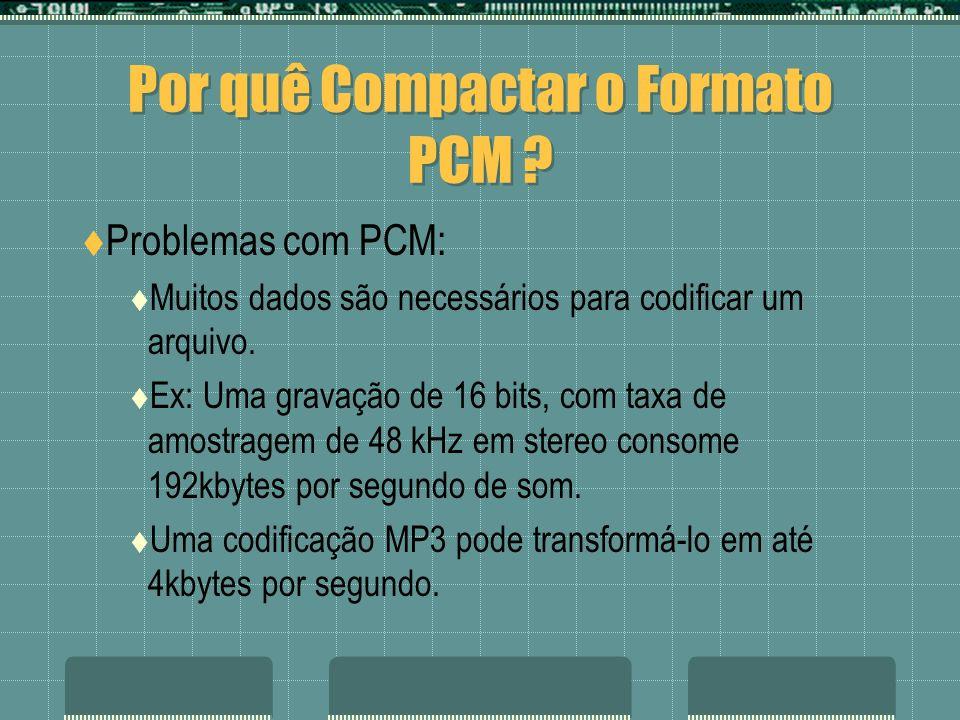 Por quê Compactar o Formato PCM ? Problemas com PCM: Muitos dados são necessários para codificar um arquivo. Ex: Uma gravação de 16 bits, com taxa de
