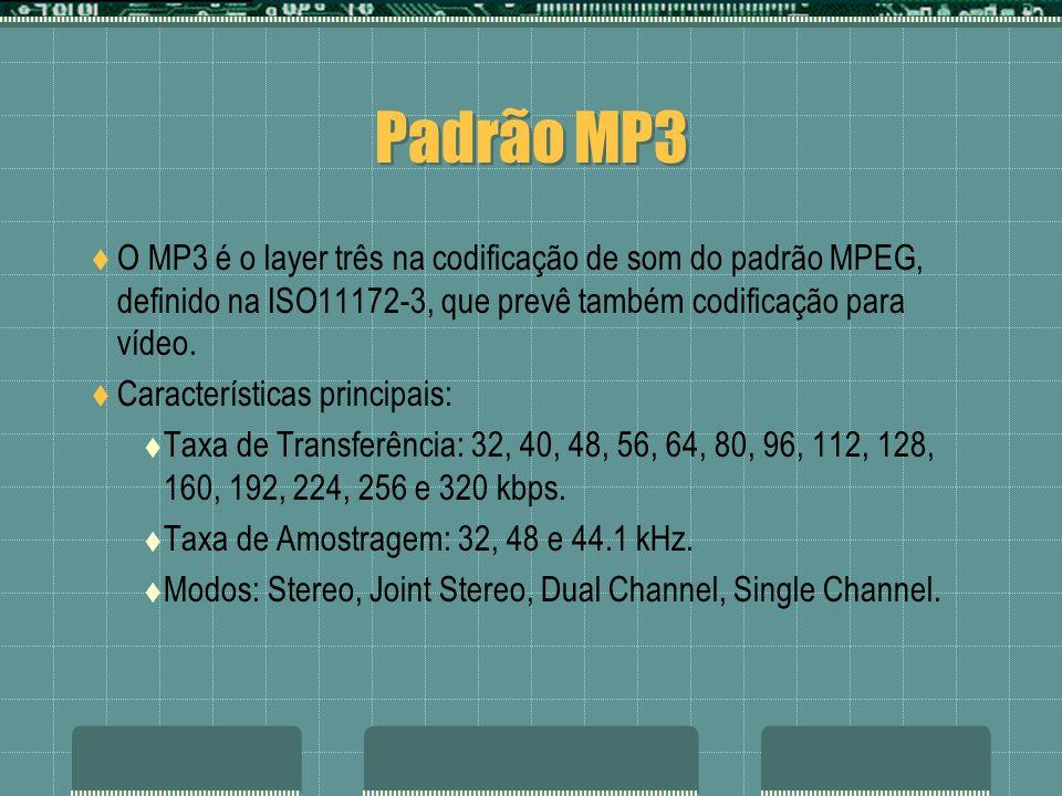 Padrão MP3 O MP3 é o layer três na codificação de som do padrão MPEG, definido na ISO11172-3, que prevê também codificação para vídeo. Características