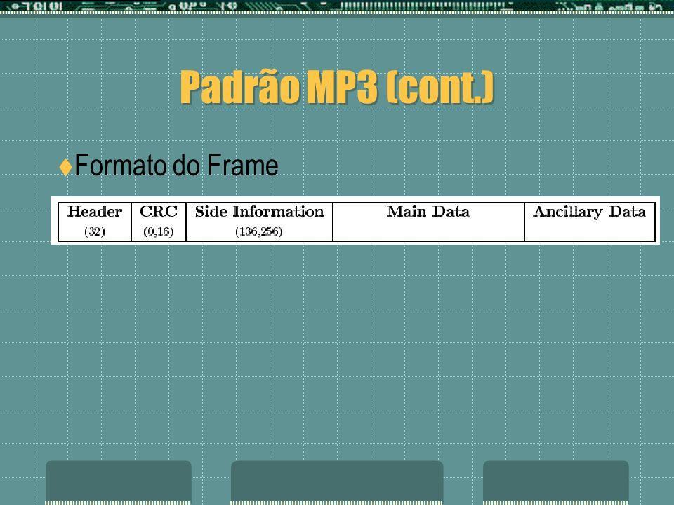 Padrão MP3 (cont.) Formato do Frame Processo de decodificação: Sincronização e Decodificação Bitstream MP3