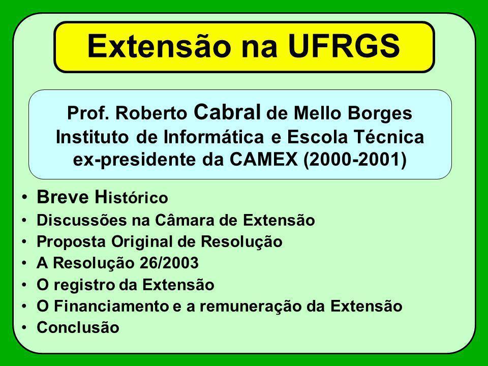 Extensão na UFRGS Breve H istórico Discussões na Câmara de Extensão Proposta Original de Resolução A Resolução 26/2003 O registro da Extensão O Financ