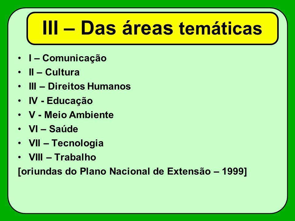 I – Comunicação II – Cultura III – Direitos Humanos IV - Educação V - Meio Ambiente VI – Saúde VII – Tecnologia VIII – Trabalho [oriundas do Plano Nac