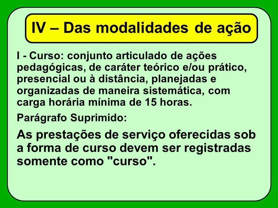 I - Curso: conjunto articulado de ações pedagógicas, de caráter teórico e/ou prático, presencial ou à distância, planejadas e organizadas de maneira s