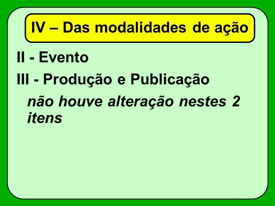 II - Evento III - Produção e Publicação não houve alteração nestes 2 itens