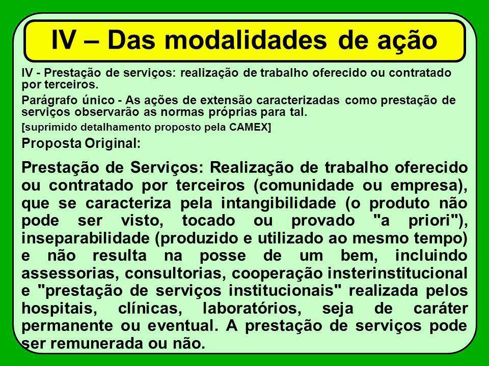 IV - Prestação de serviços: realização de trabalho oferecido ou contratado por terceiros. Parágrafo único - As ações de extensão caracterizadas como p
