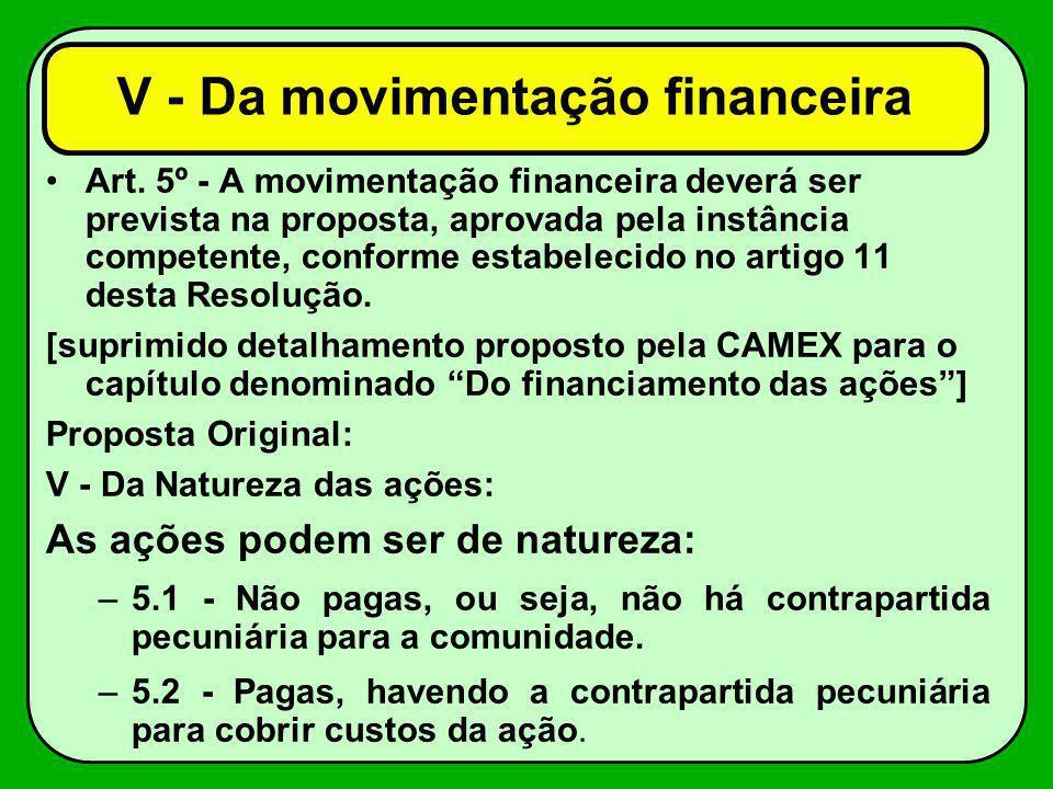 Art. 5º - A movimentação financeira deverá ser prevista na proposta, aprovada pela instância competente, conforme estabelecido no artigo 11 desta Reso
