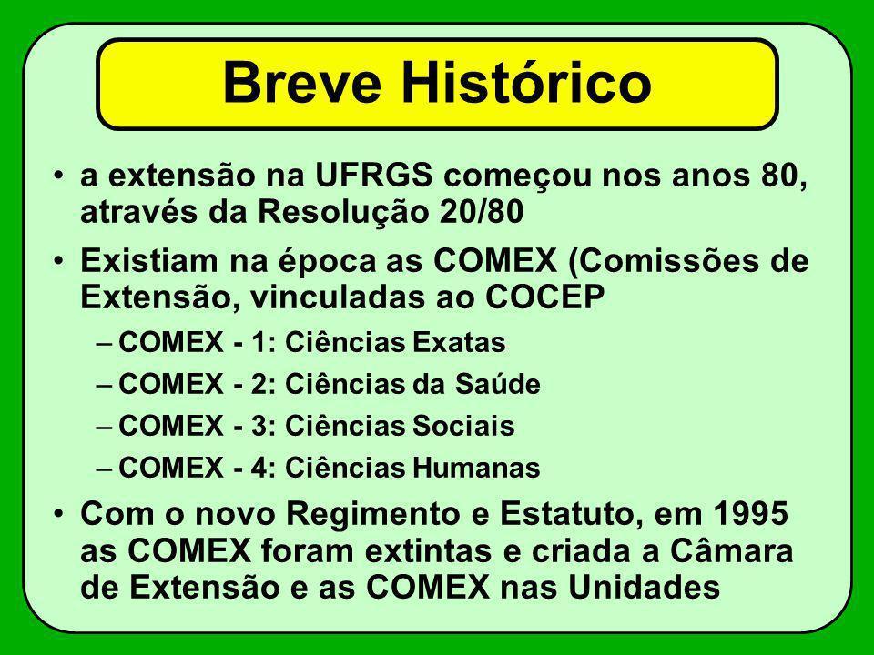 Breve Histórico a extensão na UFRGS começou nos anos 80, através da Resolução 20/80 Existiam na época as COMEX (Comissões de Extensão, vinculadas ao C