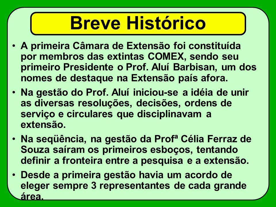 Breve Histórico A primeira Câmara de Extensão foi constituída por membros das extintas COMEX, sendo seu primeiro Presidente o Prof. Aluí Barbisan, um