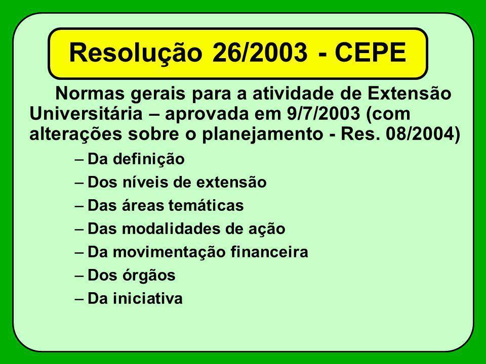 Normas gerais para a atividade de Extensão Universitária – aprovada em 9/7/2003 (com alterações sobre o planejamento - Res. 08/2004) –Da definição –Do