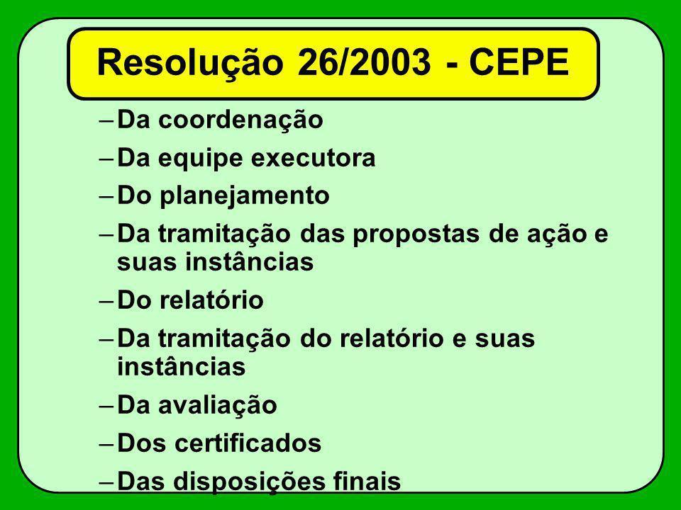 –Da coordenação –Da equipe executora –Do planejamento –Da tramitação das propostas de ação e suas instâncias –Do relatório –Da tramitação do relatório