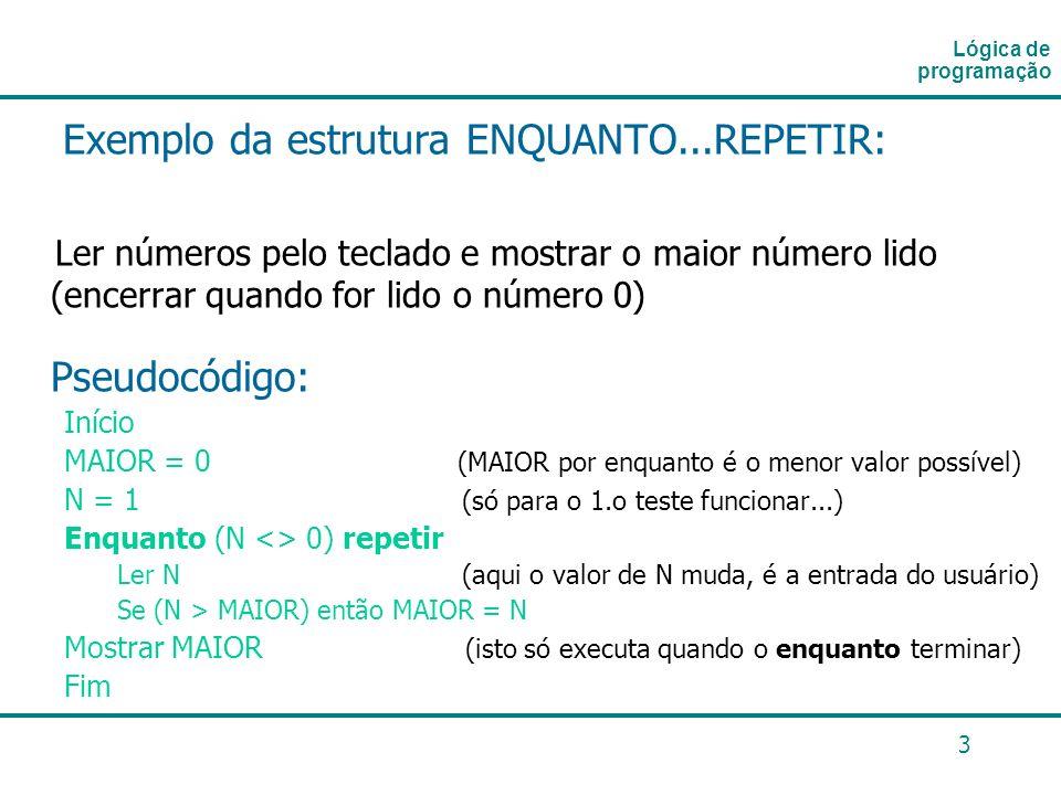 3 Exemplo da estrutura ENQUANTO...REPETIR: Ler números pelo teclado e mostrar o maior número lido (encerrar quando for lido o número 0) Pseudocódigo: