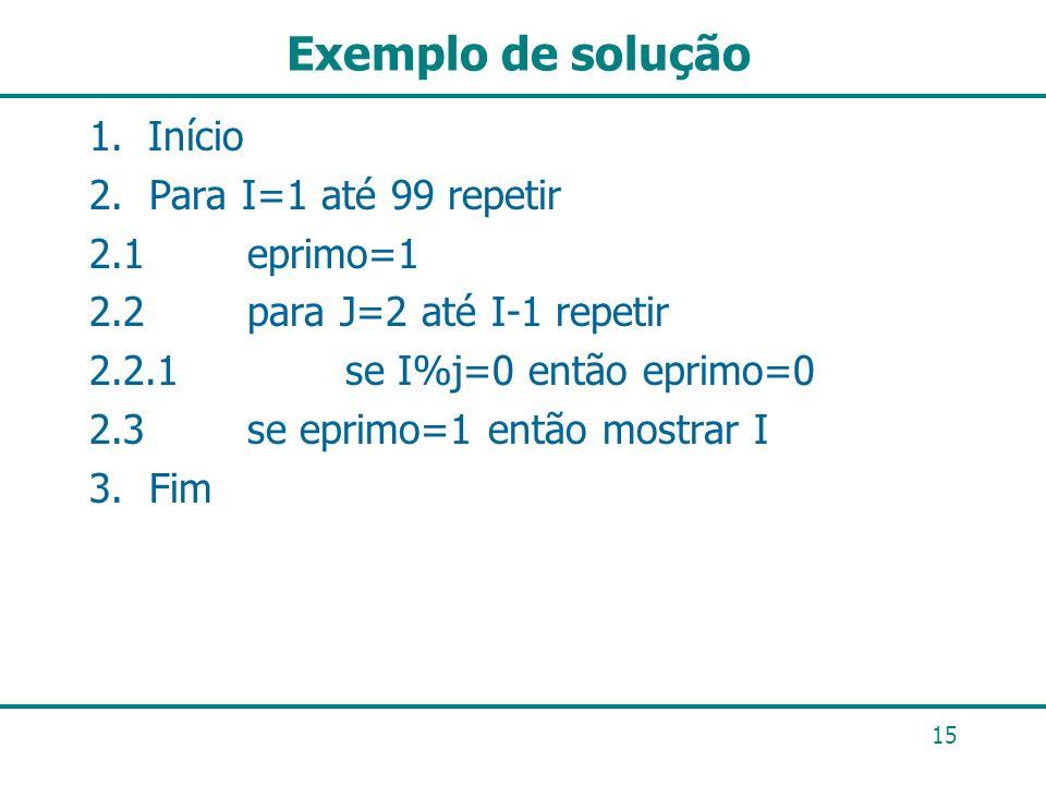 Exemplo de solução 1.Início 2. Para I=1 até 99 repetir 2.1 eprimo=1 2.2 para J=2 até I-1 repetir 2.2.1 se I%j=0 então eprimo=0 2.3 se eprimo=1 então m
