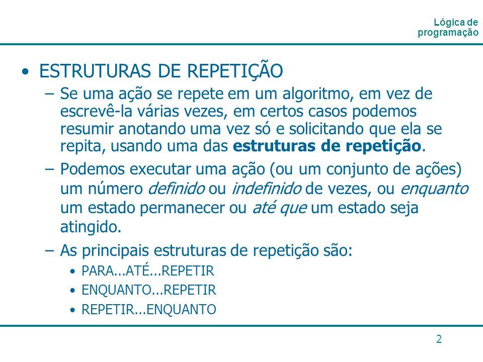 3 Fluxograma de uma estrutura de repetição: Lógica de programação INÍCIO FIM CONT <= 10.