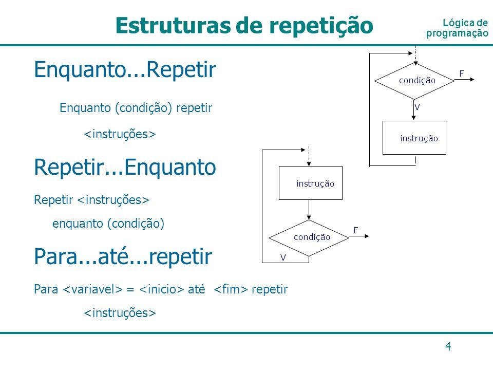 4 Enquanto...Repetir Enquanto (condição) repetir Repetir...Enquanto Repetir enquanto (condição) Para...até...repetir Para = até repetir Lógica de prog
