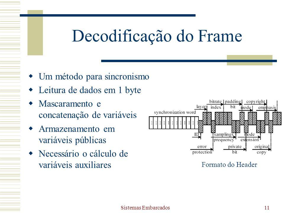Sistemas Embarcados11 Decodificação do Frame Um método para sincronismo Leitura de dados em 1 byte Mascaramento e concatenação de variáveis Armazename