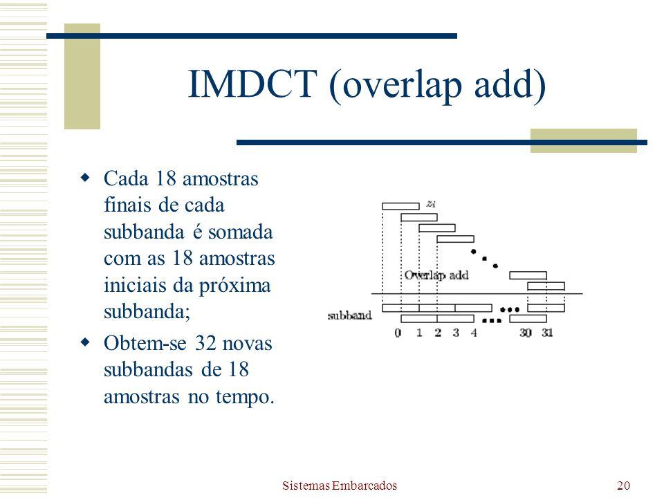 Sistemas Embarcados20 IMDCT (overlap add) Cada 18 amostras finais de cada subbanda é somada com as 18 amostras iniciais da próxima subbanda; Obtem-se