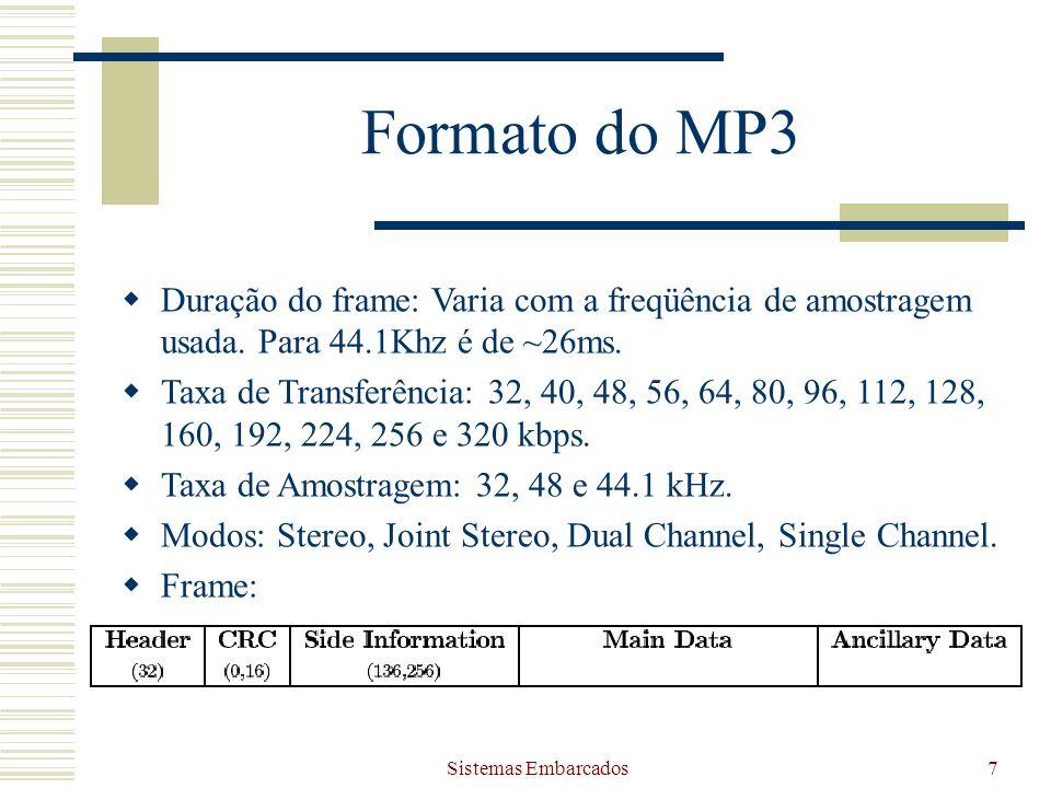 Sistemas Embarcados7 Formato do MP3 Duração do frame: Varia com a freqüência de amostragem usada. Para 44.1Khz é de ~26ms. Taxa de Transferência: 32,