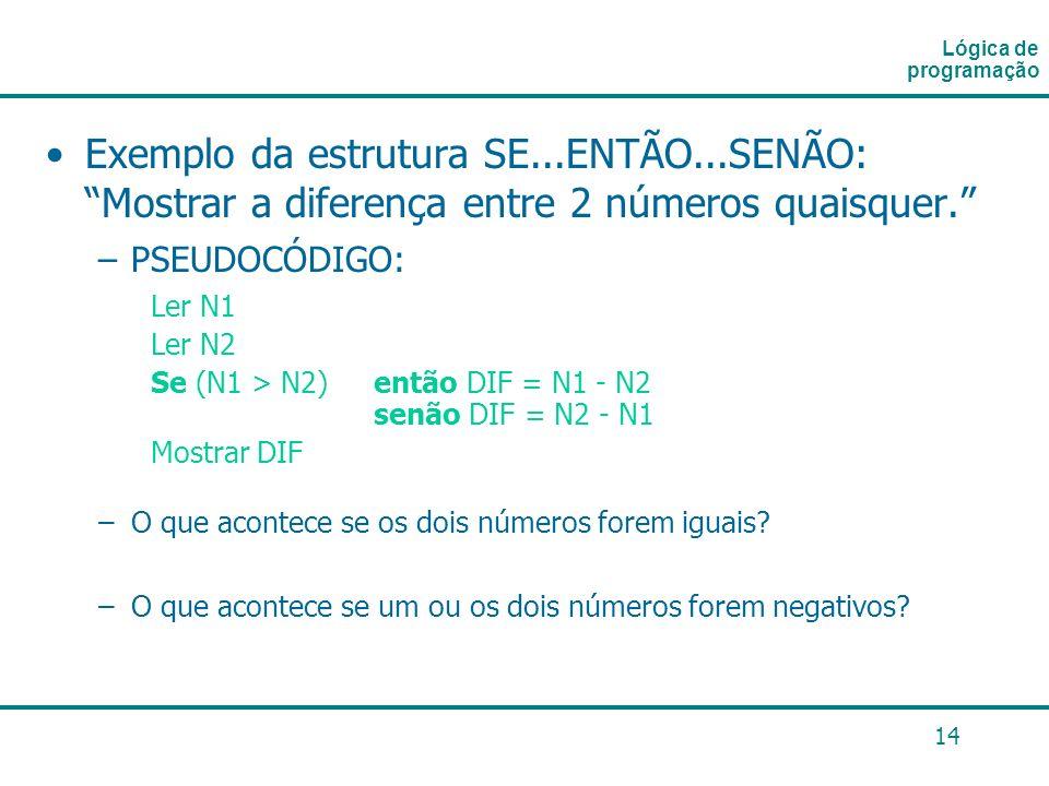 14 Exemplo da estrutura SE...ENTÃO...SENÃO: Mostrar a diferença entre 2 números quaisquer. –PSEUDOCÓDIGO: Ler N1 Ler N2 Se (N1 > N2) então DIF = N1 -