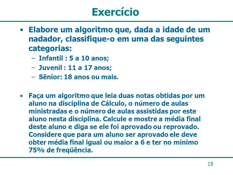 Exercício Elabore um algoritmo que, dada a idade de um nadador, classifique-o em uma das seguintes categorias: –Infantil : 5 a 10 anos; –Juvenil : 11