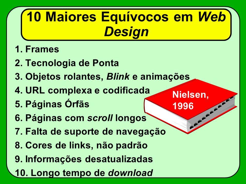 10 Maiores Equívocos em Web Design 1.Frames 2. Tecnologia de Ponta 3.