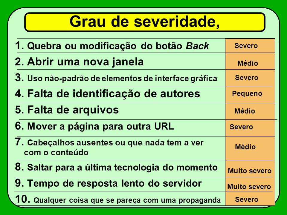 Grau de severidade, 1.Quebra ou modificação do botão Back 2.