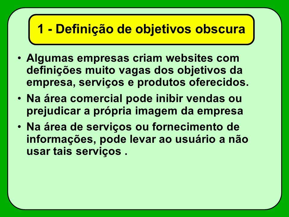1 - Definição de objetivos obscura Algumas empresas criam websites com definições muito vagas dos objetivos da empresa, serviços e produtos oferecidos.