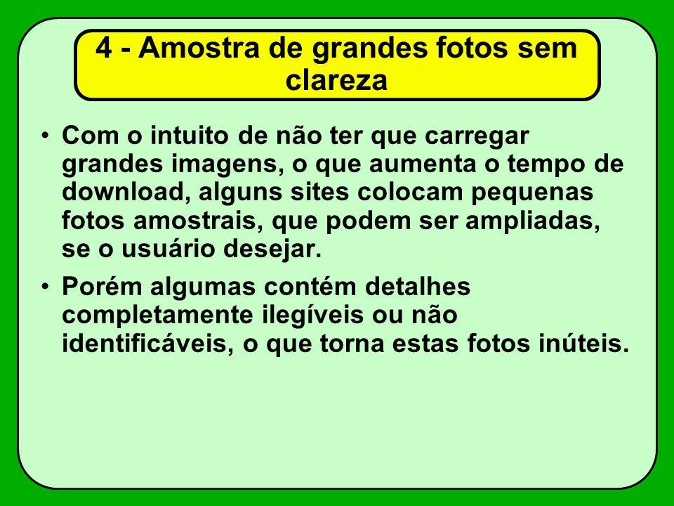 4 - Amostra de grandes fotos sem clareza Com o intuito de não ter que carregar grandes imagens, o que aumenta o tempo de download, alguns sites colocam pequenas fotos amostrais, que podem ser ampliadas, se o usuário desejar.