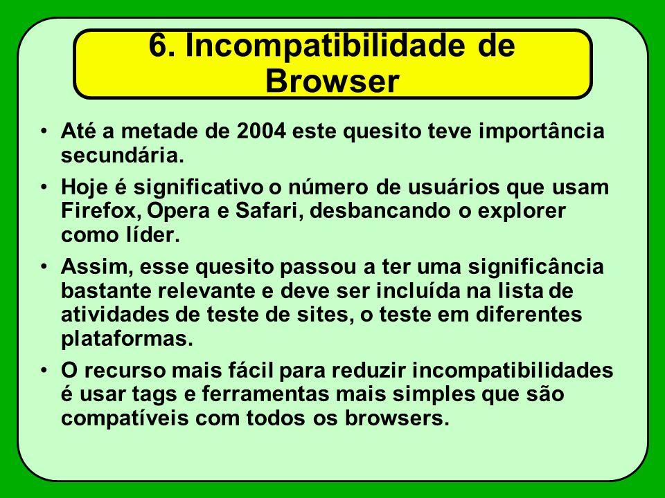 6.Incompatibilidade de Browser Até a metade de 2004 este quesito teve importância secundária.
