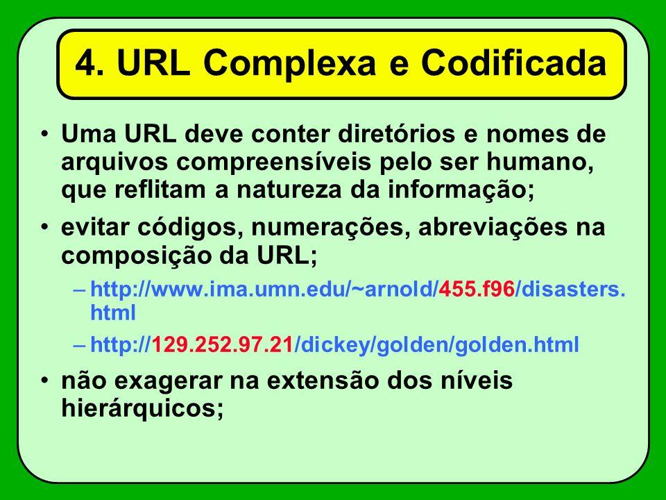 4. URL Complexa e Codificada Uma URL deve conter diretórios e nomes de arquivos compreensíveis pelo ser humano, que reflitam a natureza da informação;
