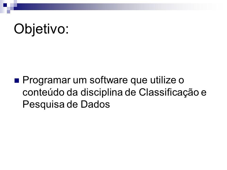 Objetivo: Programar um software que utilize o conteúdo da disciplina de Classificação e Pesquisa de Dados