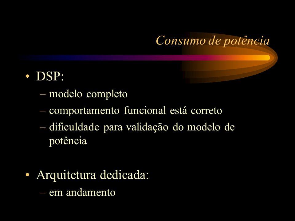 Consumo de potência DSP: –modelo completo –comportamento funcional está correto –dificuldade para validação do modelo de potência Arquitetura dedicada: –em andamento