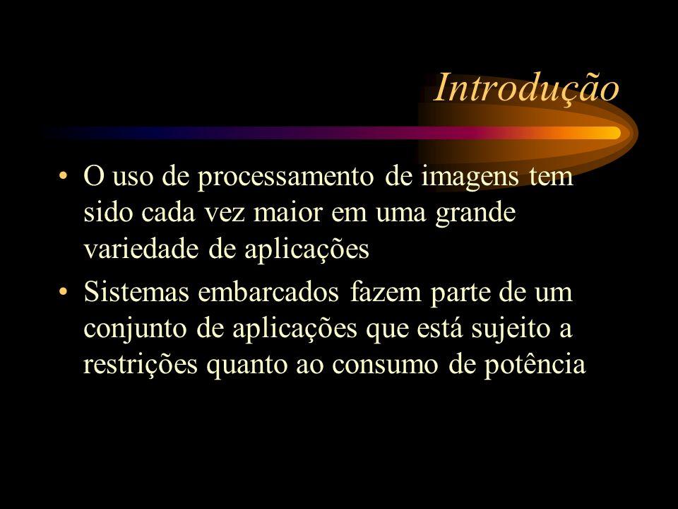 Introdução O uso de processamento de imagens tem sido cada vez maior em uma grande variedade de aplicações Sistemas embarcados fazem parte de um conjunto de aplicações que está sujeito a restrições quanto ao consumo de potência