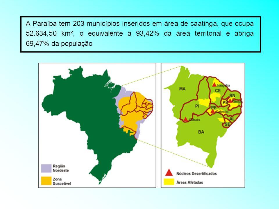 A Paraíba tem 203 municípios inseridos em área de caatinga, que ocupa 52.634,50 km², o equivalente a 93,42% da área territorial e abriga 69,47% da pop