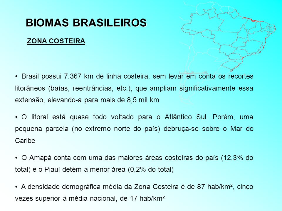 BIOMAS BRASILEIROS ZONA COSTEIRA Brasil possui 7.367 km de linha costeira, sem levar em conta os recortes litorâneos (baías, reentrâncias, etc.), que