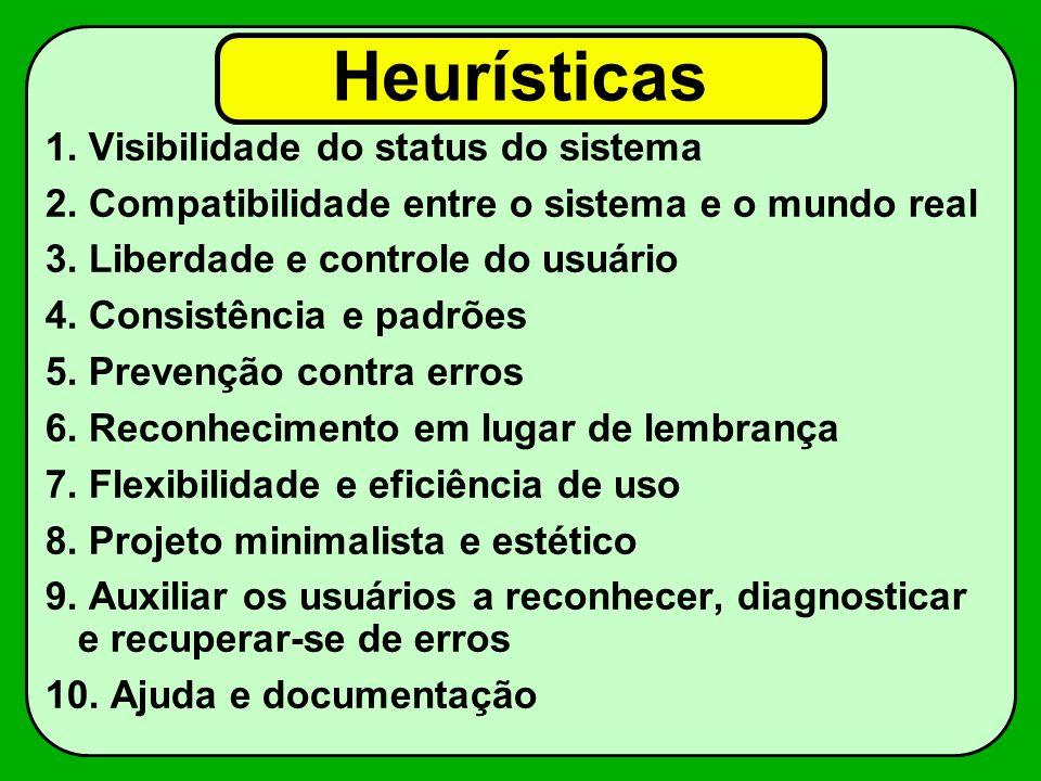 Heurísticas 1. Visibilidade do status do sistema 2. Compatibilidade entre o sistema e o mundo real 3. Liberdade e controle do usuário 4. Consistência