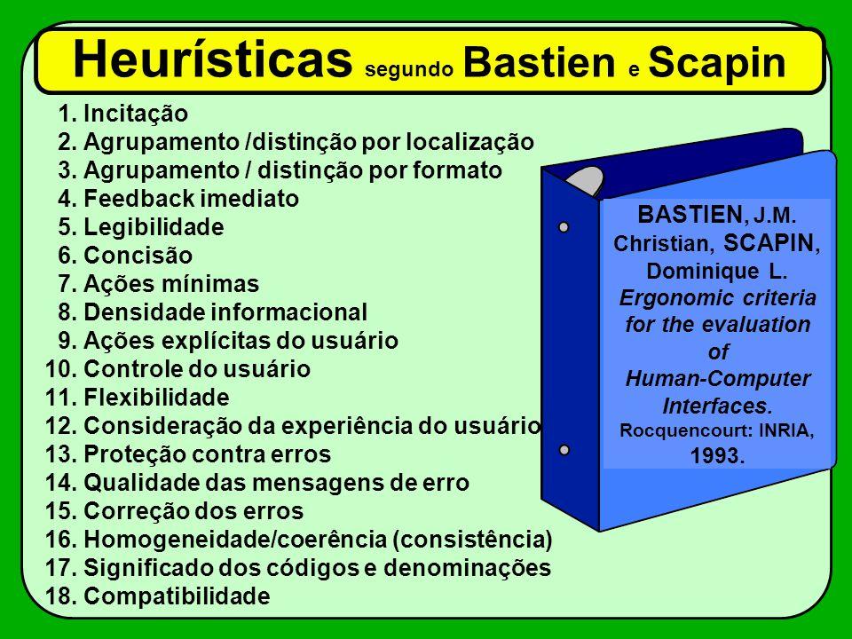 Heurísticas segundo Bastien e Scapin 1. Incitação 2. Agrupamento /distinção por localização 3. Agrupamento / distinção por formato 4. Feedback imediat