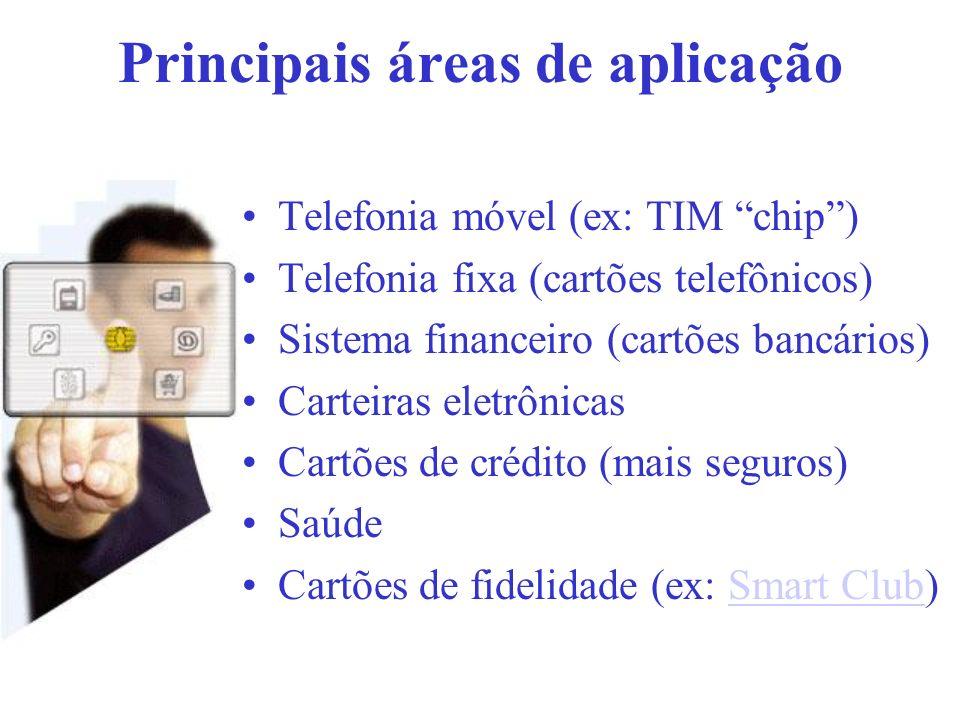 Principais áreas de aplicação Telefonia móvel (ex: TIM chip) Telefonia fixa (cartões telefônicos) Sistema financeiro (cartões bancários) Carteiras ele